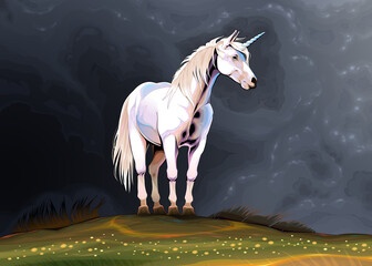 Foto op Plexiglas Kinderkamer Unicorn alone in the nature