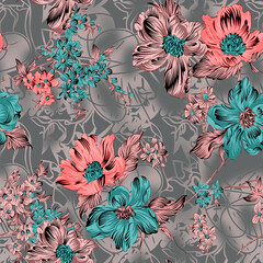 Seamless flower pattern floral allover design with background