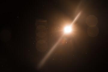 Lens Flare ,Sun Flare on black background object design.