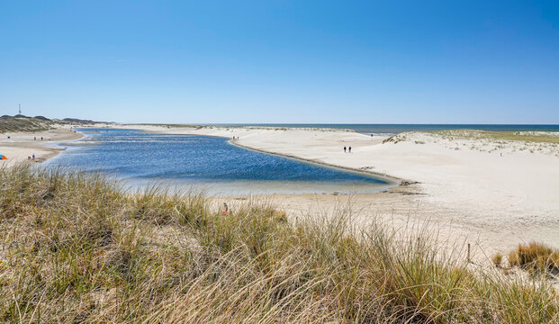 The Blue lagoon at Camperduin, Noord Holland, The Netherlands. A very popular tourist destination on this recently created beach on the north west coast of Holland.