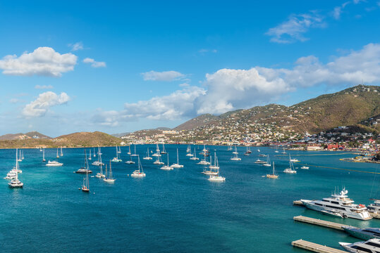 Harbor approaching St. Thomas, Charlotte Amalie, United States Virgin Islands (USVI) in the Caribbean