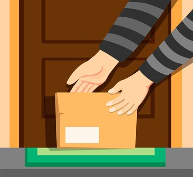 Thief hand take package box online shop in front door home, awareness from theft steal someone parcel crime activity cartoon illustration vector