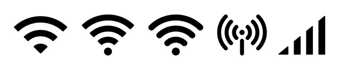 Vector WiFi symbol set. Network signs on white background