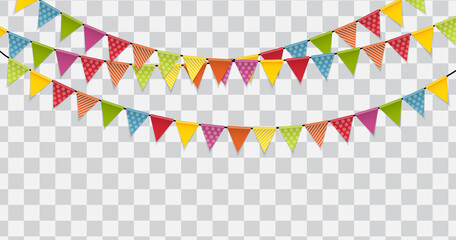 Party Flags on Transparent Background Vector Illustration