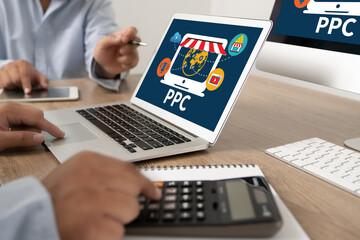 PPC - Pay Per Click concept Businessman working concept.