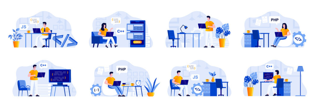 Programming scenes bundle with people characters. Frontend and backend developers working with computers in office, software design and coding situations. Programs development flat vector illustration
