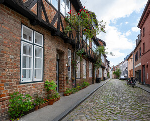 Typical narrow alley with residential buildings and pottet flowers on the sidewalk garden in the old town of the hanseatic city Luebeck, Germany