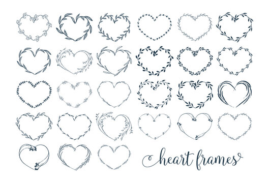 vectot botanical heart frames
