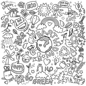 hand drawn of Earth day, Ecology , go green, clean power doodle set isolated on white background, doodles sketch illustration vector