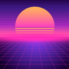 Retro futuristic background vaporwave. Neon geometric synthwave grid, light space with setting sun abstract cyberpunk design purple 80s disco fantastic vector graphic glow.