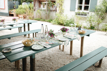 Table setting at a Bavarian restaurant