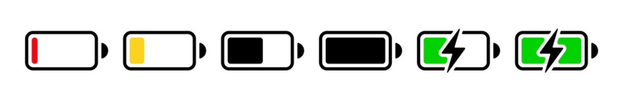Charging battery symbols set. Vector icons on white background