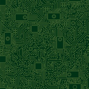 Computer board chip green pattern. Modern motherboard with seamless green pattern abstract conductive vector lines processor chip video card digital graphic engineering computer equipment.