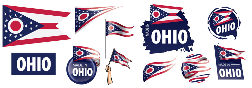 Vector set of flags of the American state of Ohio in different designs