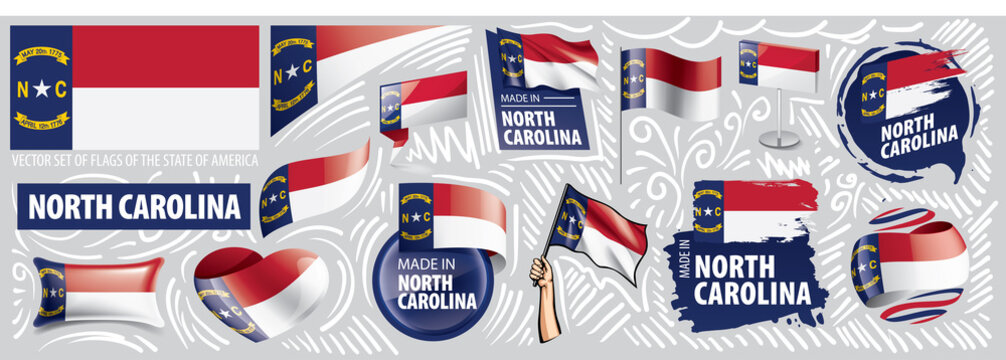 Vector set of flags of the American state of North Carolina in different designs