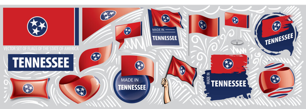 Vector set of flags of the American state of Tennessee in different designs
