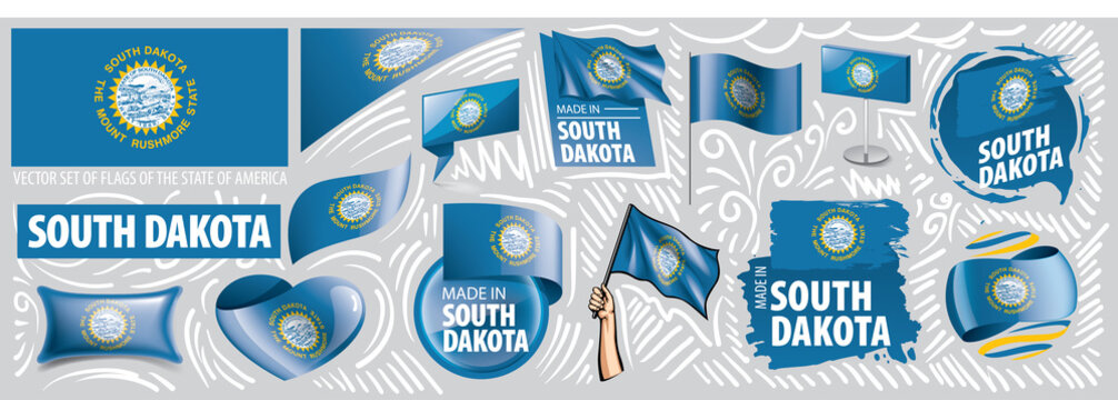 Vector set of flags of the American state of South Dakota in different designs