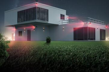 Eigenheim - Videoüberwachung - Sicherheit 3D Rendering