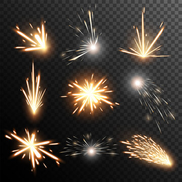 Fiery sparks collection. Light effect. Big vector set.