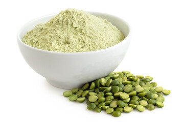 Fototapeta Green pea flour and green split peas. obraz