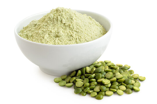 Green pea flour and green split peas.