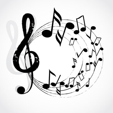 Various music notes on stave vector illustration. Music concept