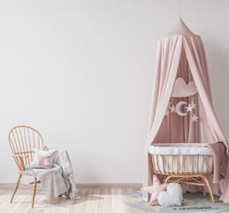 Obraz Natural wooden furniture for kids room in Scandinavian interior style, empty wall in bright newborn bedroom, 3D rendering - fototapety do salonu