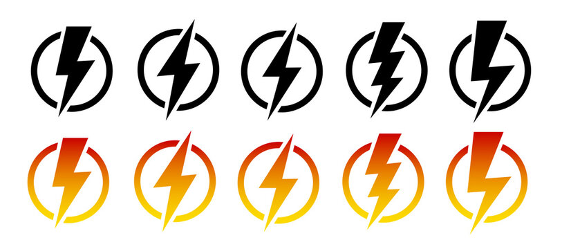 Thunder and lighting icon set. Vector