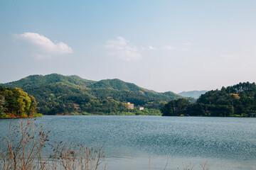 Geumgwang Lake with mountains in Anseong, Korea