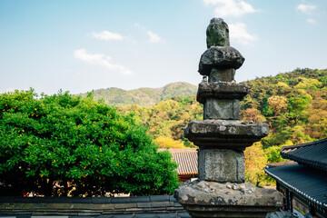 Seoknamsa temple stone tower with mountains in Anseong, Korea