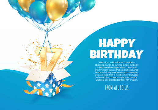 Celebrating of 17 th years birthday vector illustration. Seventeen anniversary celebration. Teenage birth day. Open gift box with numbers one and seven flying on balloons