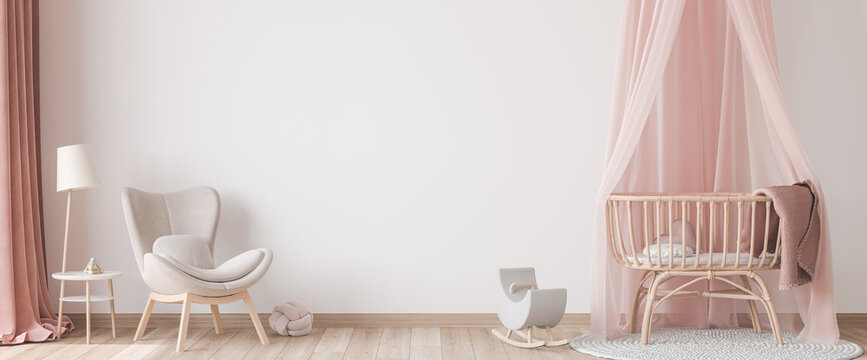 Panoramic interior for baby's room Scandinavian style, rattan crib with pink canopy, beige armchair and wooden toys on empty bright background. Trendy minimal design