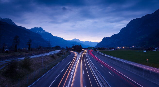 Night highway. Mountains Swiss Alps. Gotthard. Canton  Uri. Switzrland