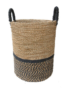 woven laundry basket isolated on white background . Details of modern boho bohemian scandinavian and scandinavian style eco design interior