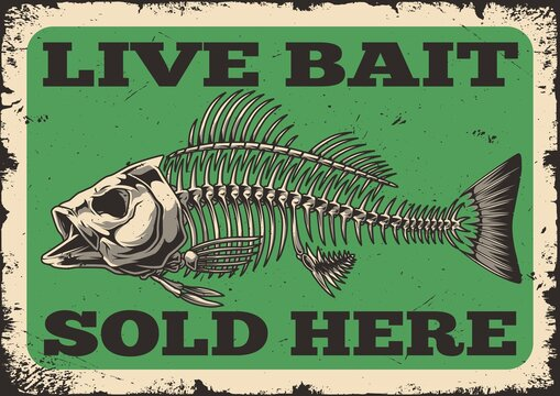 Fishing shop advertising vintage template