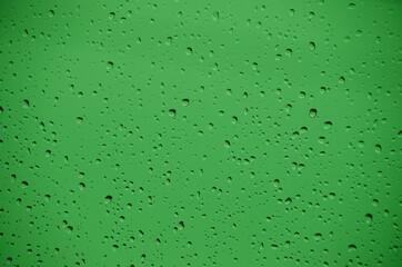 Fototapeta Krople wody na szybie okiennej z zielonym tłem w deszczowy dzień