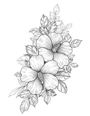 Hand Drawn Floral Bunch with Hibiscus and Leaves