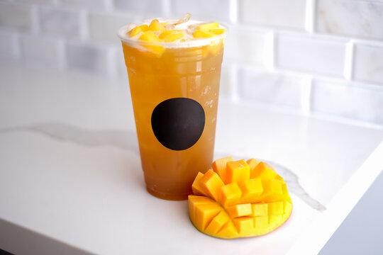 mango ice tea. drink and refreshment.