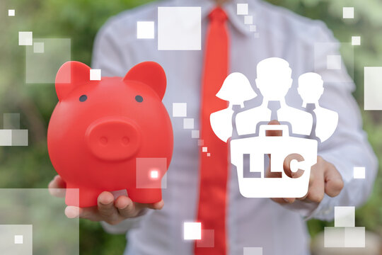 LLC Limited Liability Company Business Concept. Businesswoman hold red piggy bank and touch team briefcase LLC virtual icon.