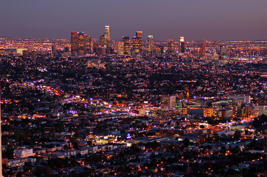 Downtown Los Angeles and Hollywood glows at sunset
