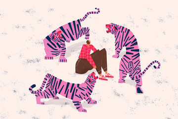 Anxiety disorder concept. Scared and anxious person surrounded by tigers. Social problematic. Colorful.