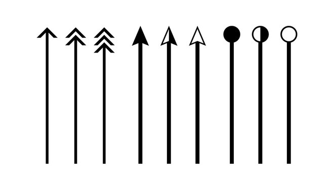 arrow vertical line set isolated on white, lines and arrows indicate the dimension of the drawing, arrowhead black on a line vertical, arrow line for dimension scale, clip art vertical line arrow