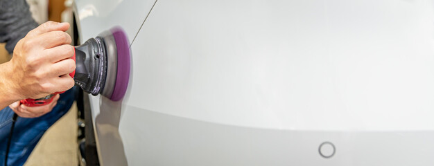 car body repair polishing. banner with copy space