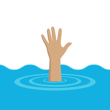 illustration of a man drowning and raising his hand for help out of the water