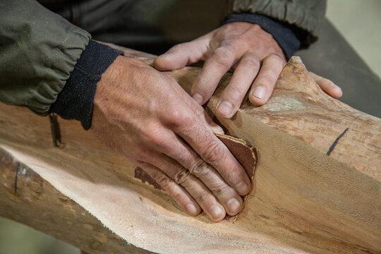 sanding wood close-up