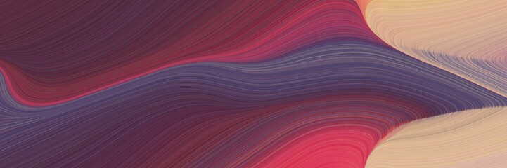 Deurstickers Crimson abstract flowing designed horizontal banner with old mauve, dark salmon and dark moderate pink colors. fluid curved flowing waves and curves for poster or canvas