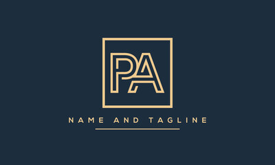 Obraz Alphabet letters monogram icon logo PA or AP - fototapety do salonu
