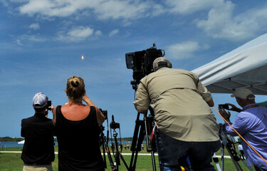 SpaceX Falcon 9 rocket and Crew Dragon spacecraft carrying NASA astronauts Douglas Hurley and Robert Behnken lifts off during NASA's SpaceX Demo-2 mission to the International Space Station from NASA's Kennedy Space Center in Cape Canaveral