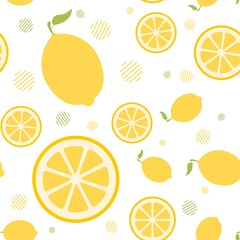 Vector seamless pattern with whole lemons and slices on a white background. Bright summer pattern. Picture for packaging. Sour tropical fruit. Flat minimalistic lemon with a stem and leaf.