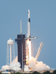 A SpaceX Falcon 9 rocket and Crew Dragon spacecraft carrying NASA astronauts Douglas Hurley and Robert Behnken lifts off during NASA's SpaceX Demo-2 mission to the International Space Station from NASA's Kennedy Space Center in Cape Canaveral